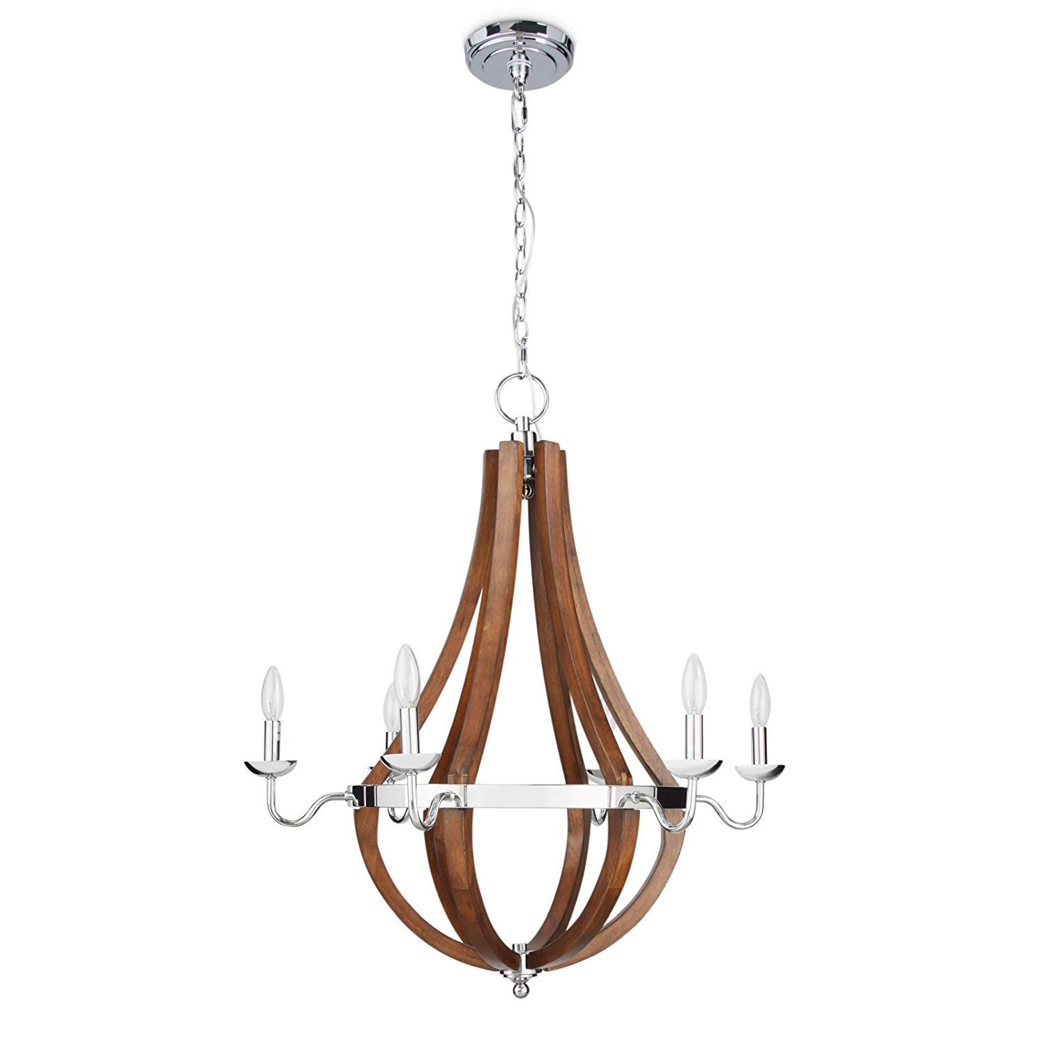 Wine barrel rustic chandelier centerpiece for foyers and dining rooms with high ceilings modern farmhouse light fixture in silver chrome finish round