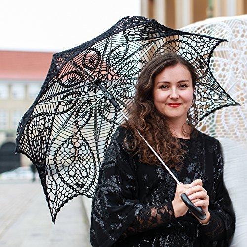 (Black Crochet Lace Umbrella - Wedding Parasol)