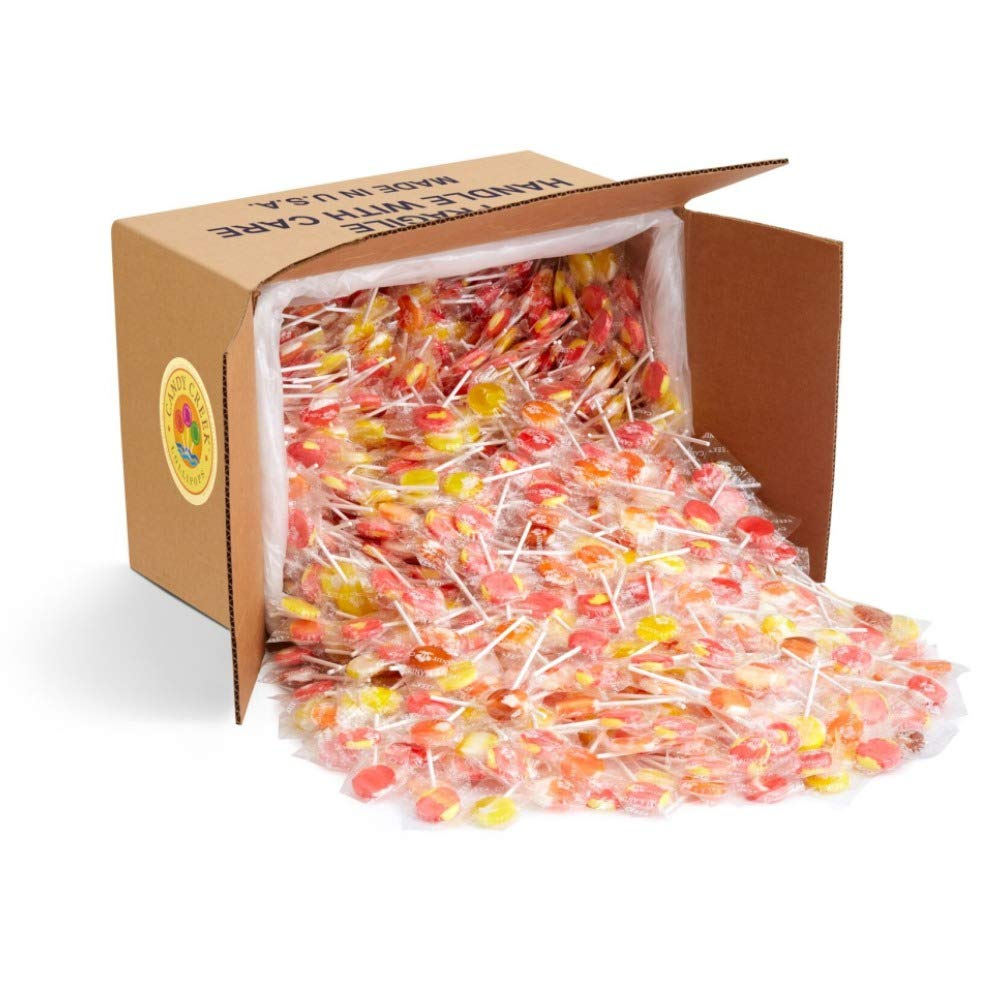Soda Shop Lollipops by Candy Creek, Bulk 18 Pound Carton, Rootbeer Float, Cherry Vanilla, Strawberry Banana, Orange Creamsicle, and Pineapple Coconut by Candy Creek Lollipops