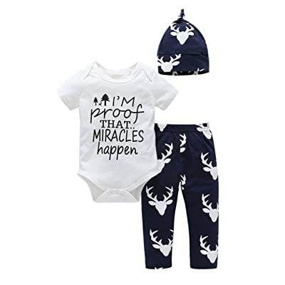 Sleezy Newborn Baby Boys Girls Sayings Short Sleeves Romper Pants Hat Outfits 3pcs Cloth Set
