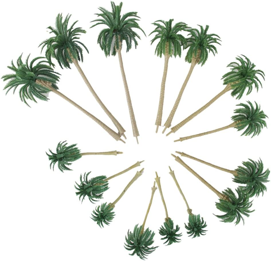 SM SunniMix 15pcs Arbre Mod/èle de Disposition Palmier Echelle Plastique Cocotier Palmier Miniature Plante Pots Bonsa/ï Artisanat