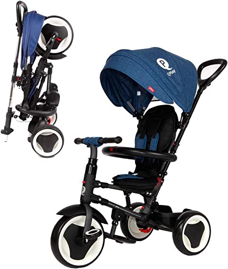 QPLAY Triciclo Evolutivo Plegable Rito - Azul - Niños de 10 hasta ...