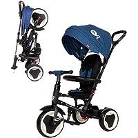 Triciclo Evolutivo Plegable QPlay Rito - Azul - Niños de 10 hasta 36 Meses - Peso soportable hasta 25 Kg