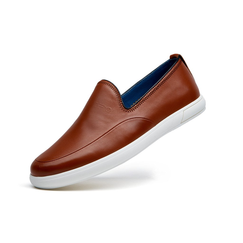 ZRO Men's leisure slip on leather shoes flat comfortable Brown US 6