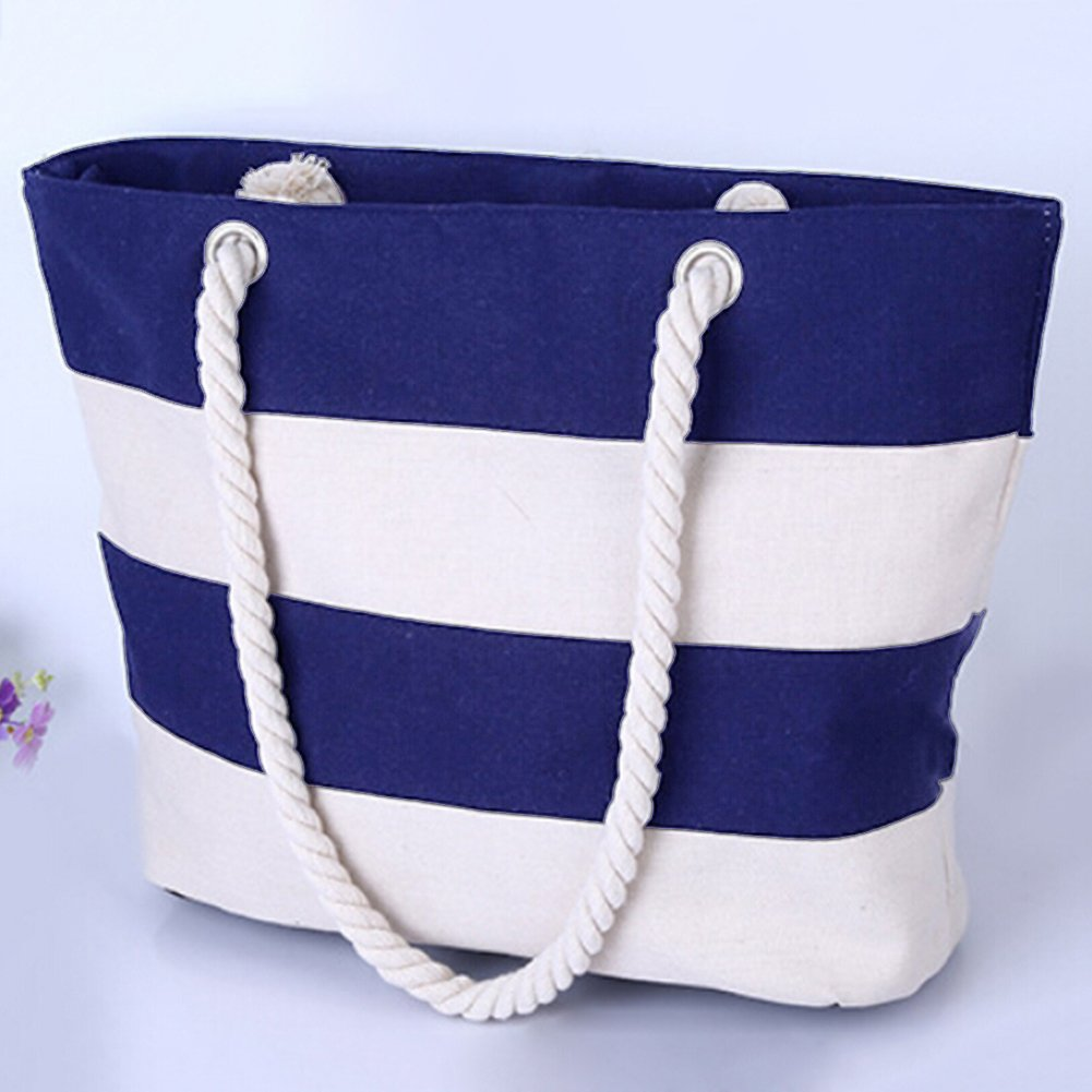 THEE Beach Bag with Inner Zipper Pocket Tote with Rope Handles