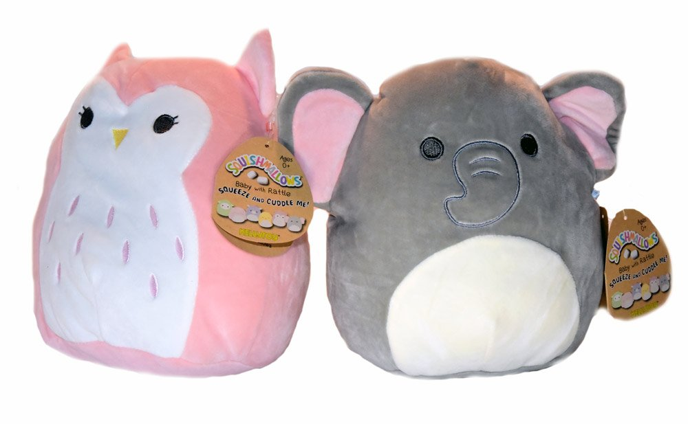 Squishmallows Baby Stuffed Animal Toy with Rattle 2 PACK -8 Inch Emma the Baby Elephant and Olive the Baby Owl
