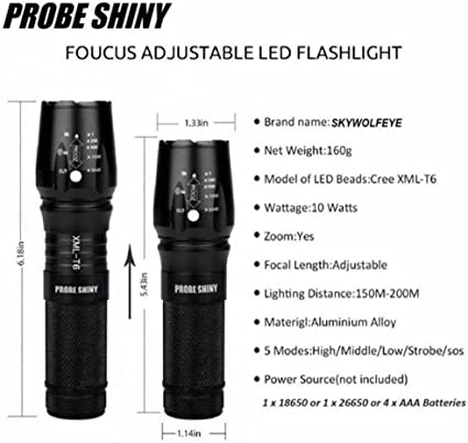 5 Modes Water Resistant Zoomable Emergency Camping Handheld Light -Gear /& Accessories for Hiking 1000 Lumen Survival YIKANWEN Rechargeable Tactical Flashlight
