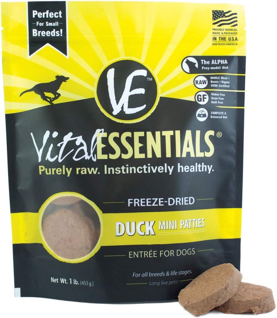 Vital Essentials Freeze-Dried Grain-Free Duck Mini Patties Dog Food, 1 lb.