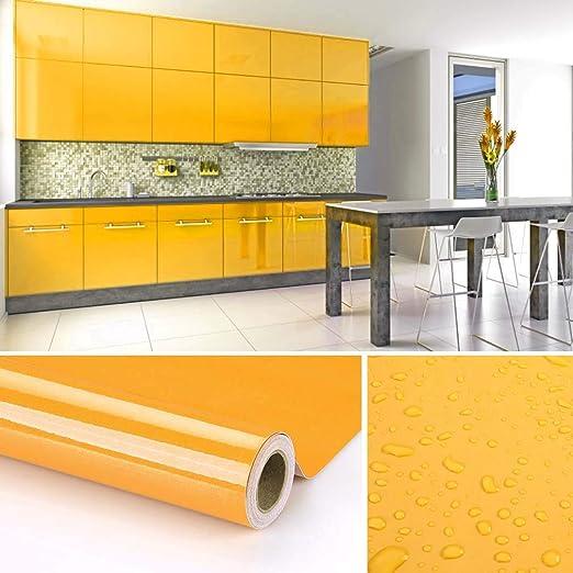 KINLO selbstklebende folie küche Gelb 61x500cm küche aus hochwertigem PVC  klebefolie aufkleber küchenschränke Wasserfest Möbelfolie für schrank folie  ...