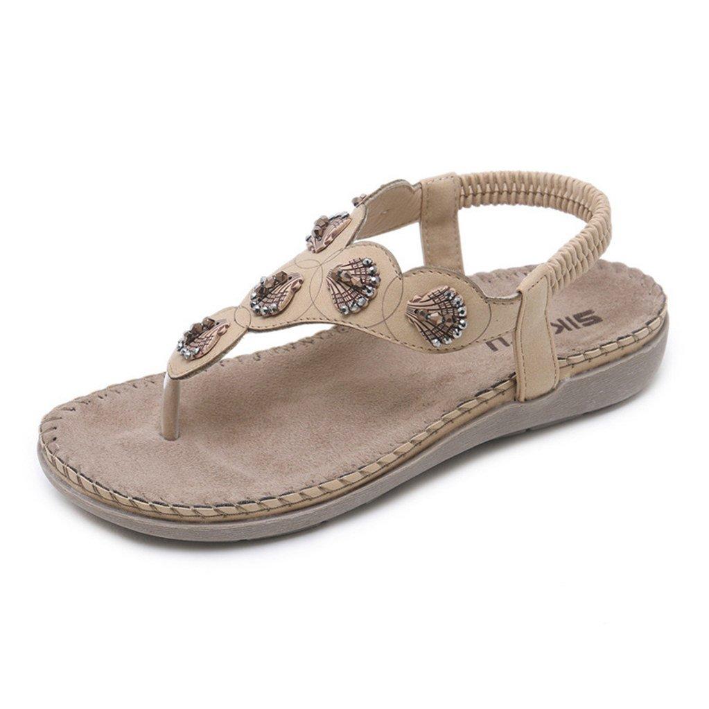 99b5c3431e74 Flat flip flop bohemia sandals casual shell rhinestone strap beach shoes  for women sports outdoors jpg