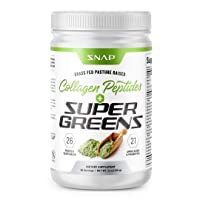 Snap Supplements Super Greens Powder + Collagen Peptides - Organic Green Juice Superfood, 25+ Green Veggie Whole Foods - Probiotics, Spirulina, Grass Fed, Amino Acids Pure Pasture Raised Powder