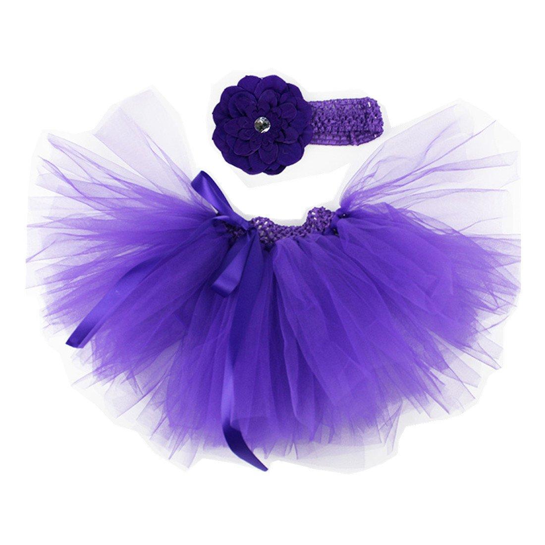MizHome Newborn Baby Girls Birthday Layered Tulle Tutu Skirt Flower Headwear Outfits MizHome-babytutu-523363940516-18