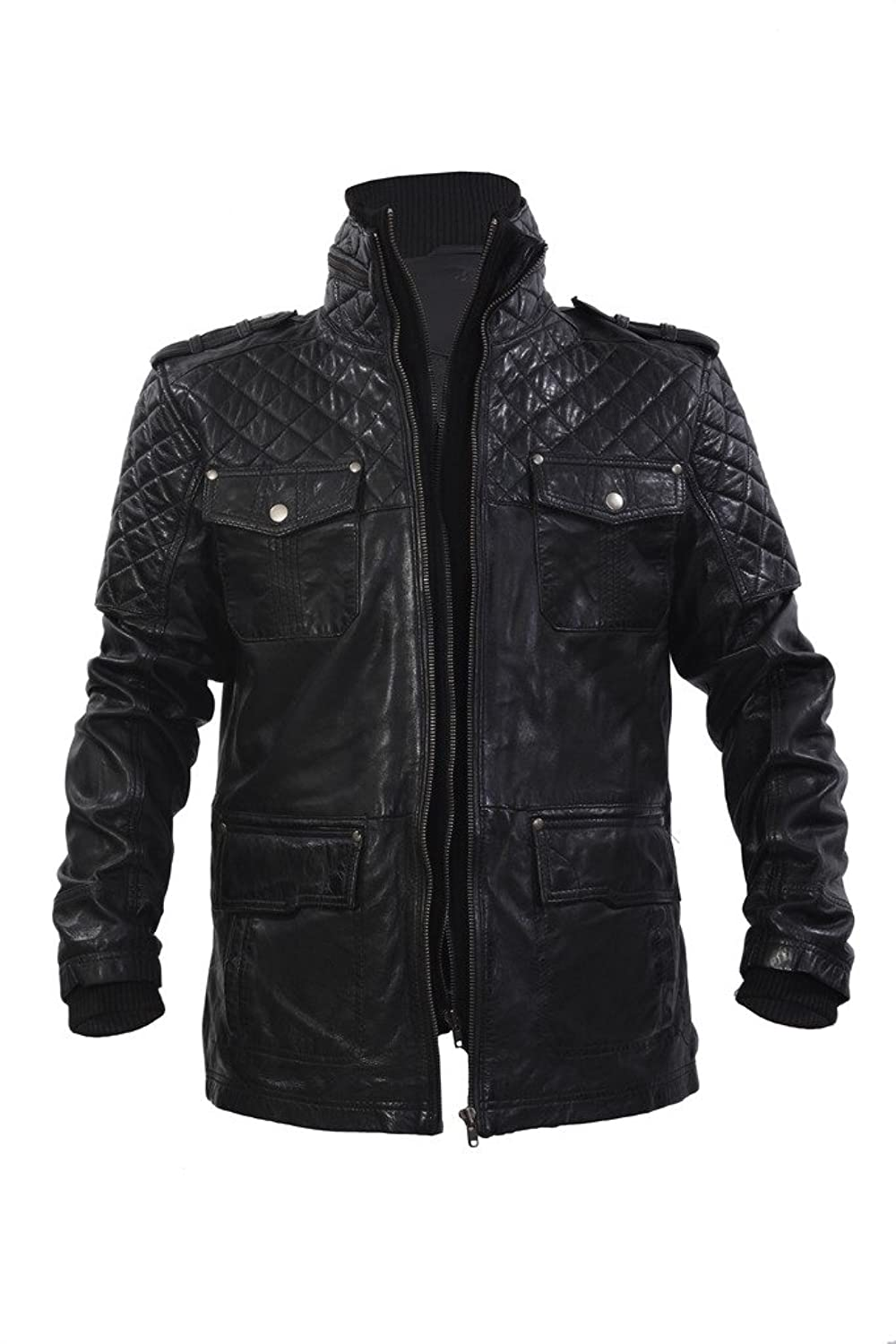 Men's Casual 100% Sheepskin Black Nappa Leather Short Quilted Slim Fit Jacket