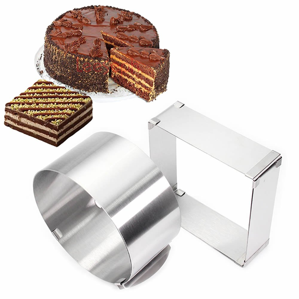 ORYOUGO Set of 2 Stainless Steel Adjustable Round and Square Mousse Cake Ring Mould,6-12 Inch Pastry Ring Circle Mold Form Stainless Steel Cake Modelling Pastry Baking Tool
