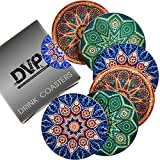 Drink Coasters - Moisture Absorbent Ceramic Stone Coaster 6-pc Set - Protective Cork Backing - Protect Furniture from Scratches and Water Stain - Great Home Décor - Elegant Gift