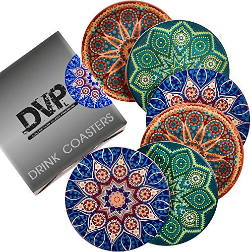 Case Set Metal Coaster - Drink Coasters - Moisture Absorbent Ceramic Stone Coaster 6-pc Set - Protective Cork Backing - Protect Furniture from Scratches and Water Stain - Great Home Décor - Elegant Gift