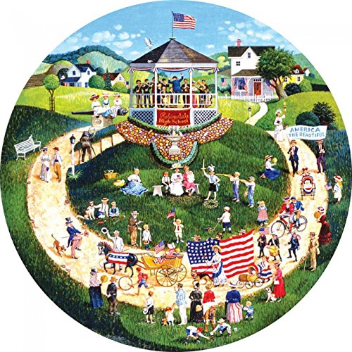 4th of July Parade 500 pc Round Jigsaw Puzzle