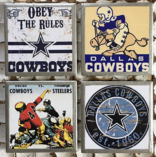 I heart Dallas Football Throwback coasters with silver trim