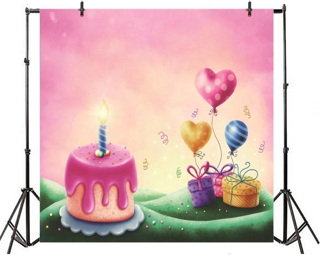 LFEEY 10x10ft Cartoon Icecream Cake Backdrop Pink Kids 1st Birthday Photo Booth Fantasy Magic Wonderland Balloons Landscape Background Cloth Vinyl Photo Studio Props