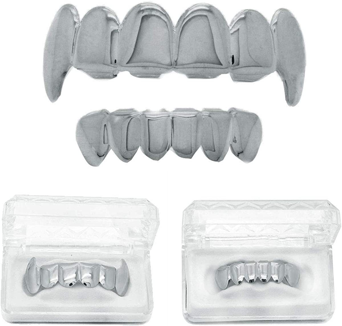 L&L Nation Silver Plated New Top & Bottom Mouth Teeth Fang Grillz 4 Slicone + 2 Storage Case+ Polishing