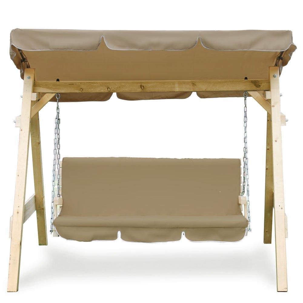 Hollywoodschaukel Audrey Holz Gartenschaukel Schaukel Gartenmöbel 3-Sitzer (beige)