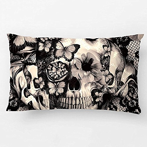 LDJ Cotton Linen Sofa Chair Seat Rectangle Throw Pillow Case Decorative Cushion Cover Pillowcase Design With Victorian Gothic Lace Skull Custom Pillow Cover Print One Side Sized 12X20 Inches