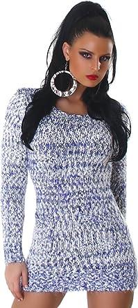 Jela London Damen kuscheliger Strick Pulli Pullover Strickkleid Minikleid Rundhals Ausschnitt