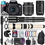 Canon EOS Rebel 800D/T7i Camera + 18-55mm IS STM Lens + Canon EF 70-300mm IS II Nano USM Lens + 650-1300mm Telephoto Lens + 500mm f/8.0 Telephoto Lens + 2yr Warranty - International Version