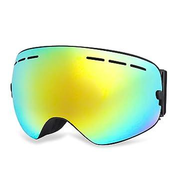HAMSWAN Gafas de Esquí Para Niños, [Oferta] Lente Dorada UV 100%,