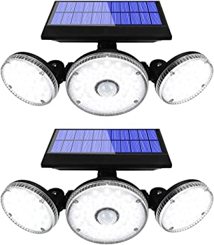 2-Pack Yomisga 132 LED Remote Dimmable Solar Lights