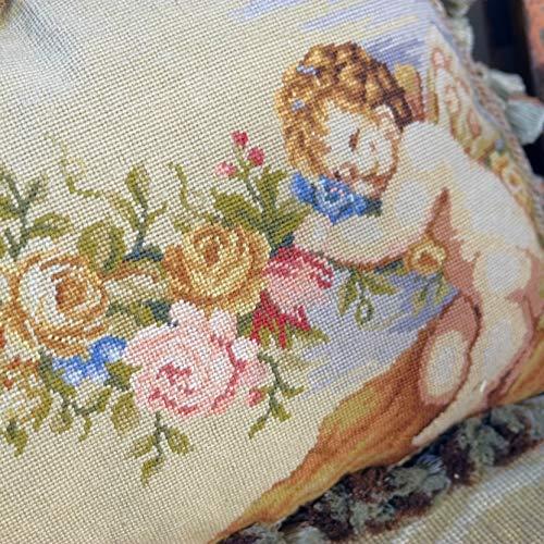 "Fine Home Crafts 20"" Stunning Wool Needlepoint Pillow Cushion Cover Cherub Rose Antique Design Artistic"