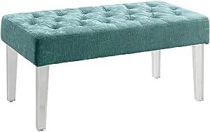 Linon Ella Acrylic Leg Teal Bench
