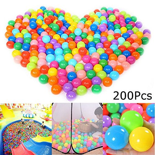 FINGOOO 2.16 Inch Phthalate Free Fun Crush Proof Balls Soft PE Air-Filled Ocean Ball Play Balls Pit Balls for Baby Kids Tunnel/Tent/Pool/Swim Jump House Pack of 200 by FINGOOO (Image #2)