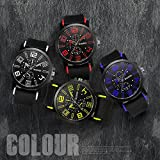 Hot Sale! Napoo Men Silicone strap Sport Cool Quartz Hours Wrist Analog Watch Arabic Numerals Dial