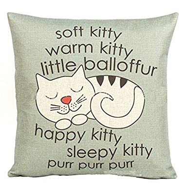 Decorbox Happy Sleepy Kitty Print Cat Pillow Cushions Cover Throw Pillow Cover For Sofa Office Decorative Pillowslip Gift Ideas Household Pillowcase 18  x 18