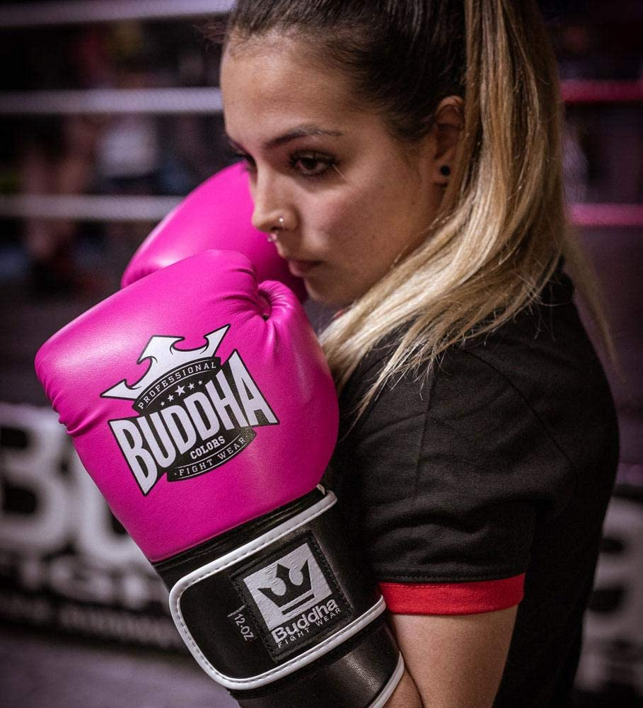 Buddha Sports Guantes de Boxeo Muay Thai Kick Boxing Colors Rosas