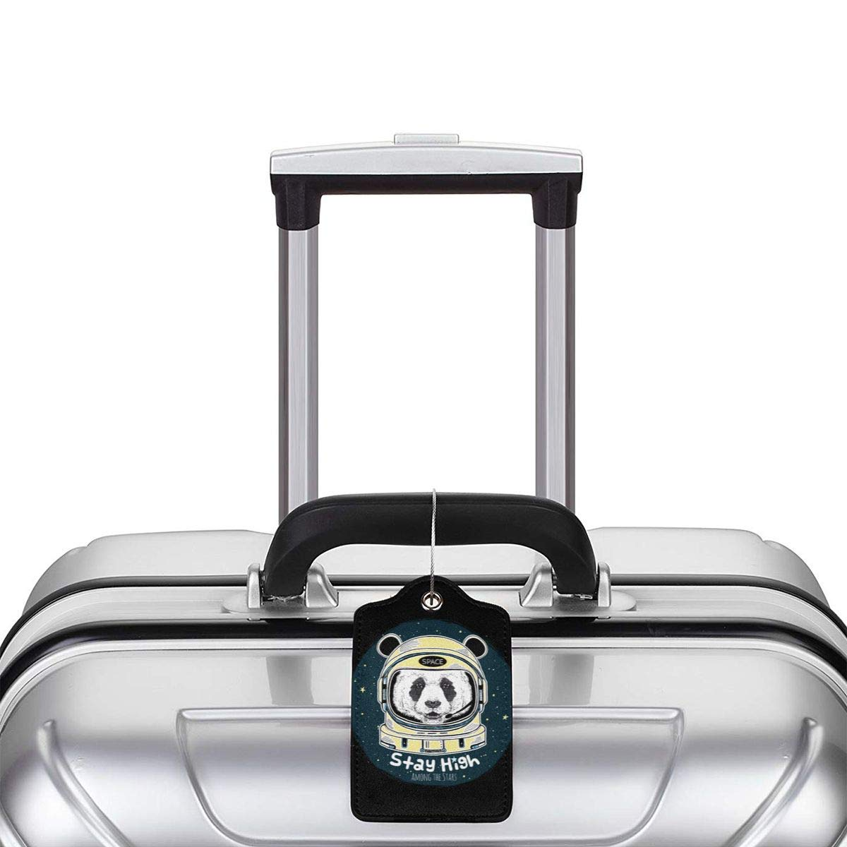 Funny Panda Astronaut Travel Luggage Tags With Full Privacy Cover Leather Case And Stainless Steel Loop