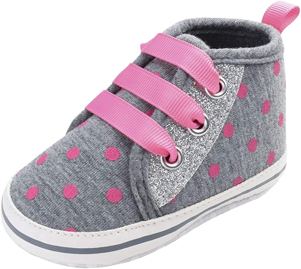 ❤️Rolayllove❤️ Baby Canvas Shoes Toddler Boys Girls Sneakers Soft Infant Crib Shoes Anti-Slip First Walkers Boots