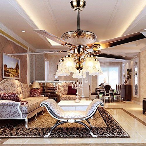 Modern Fan Accessories - RainierLight Modern Crystal Ceiling Fan Remote Control 5 Reversible Blades 5 Frosted Glass Cover for Indoor/Bedroom/Living Room LED Fan Chandelier Mute Fan 52 Inch
