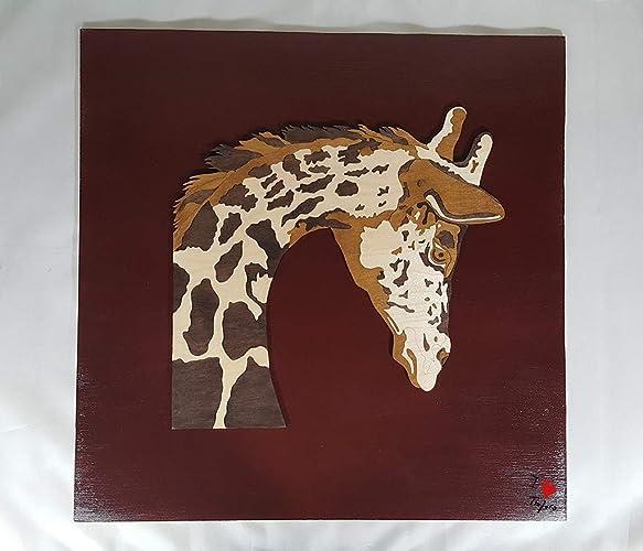 Mosaico in legno compensato, giraffa di legno, complemento d\'arredo ...