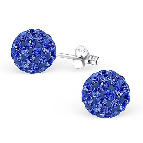 ef6f2ce39293b Amazon.com: 925 Sterling Silver 8mm Sapphire Blue Crystal Ball Stud ...