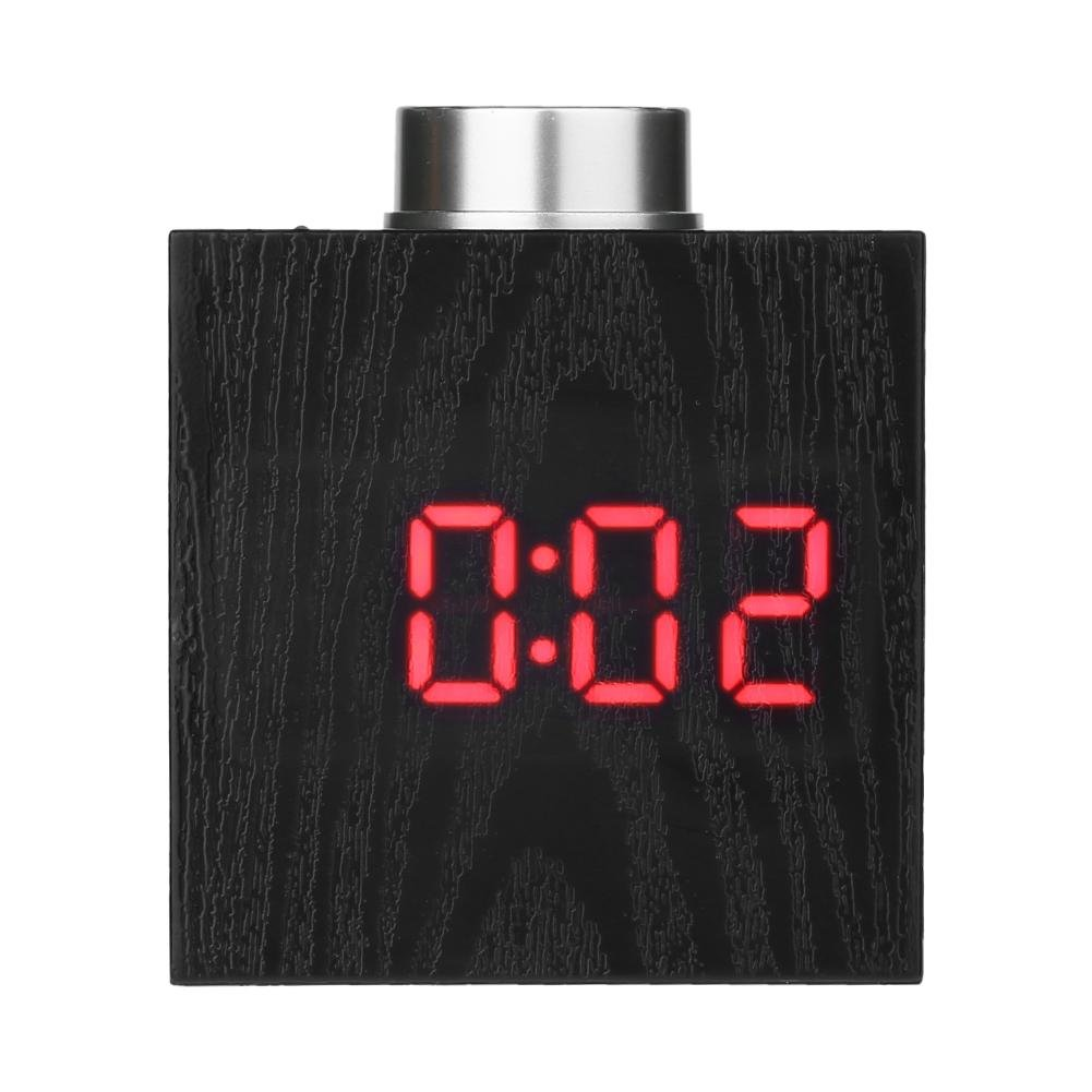 Mikolot Digital Wood Graining Knob Clock Alarm w/Temperature C/F Display(Red LED)