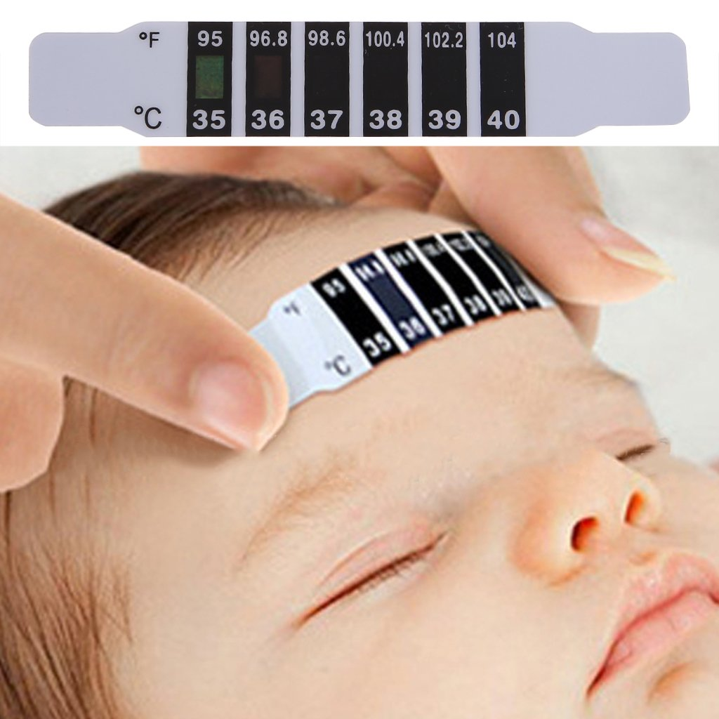 Shoresu Forehead Head Strip Thermometer Fever Body Baby Child Kid Adult Check Test Temperature Monitoring Safe Non-Toxic 10 Pieces Black+White 9cmx1.5cm/3.54x0.59