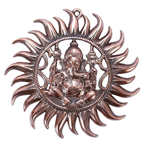 The Hue Cottage 'Handmade Wall Hanging Figurine God Ganesha Statue' Sun Design, Ganpati Blessing Position, by Copper Metal Work Idol Sculpture, for Home Decor Showpiece & Gifting - 27 x 27 cms