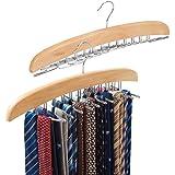 EZOWare 2 Pack Tie Belt Hangers, Wooden Adjustable 24 Clip Racks Holder Hook Storage Hanging Organizer for Mens Closet Access