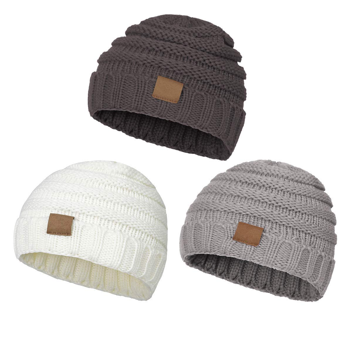 Aigemi Kids Baby Toddler Cable Ribbed Knit Children/'s Winter Hat Beanie Cap Light Grey