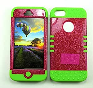 Cell-Attire Shockproof Hybrid Case For Apple IPhone 5, 5S and Stylus Pen, Green Soft Rubber Skin with Hard Cover (Hot Pink, Glitter) AT&T, T-Mobile, Sprint, Verizon, Cricket, Virgin Mobile, Boost Mobile by Maris's Diary