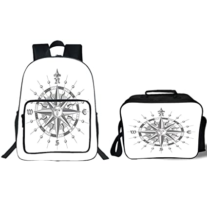 """6cba8e10c8 iPrint 19"""" School Backpack & Lunch Bag Bundle,Compass,Hand Drawn  Compass with"""