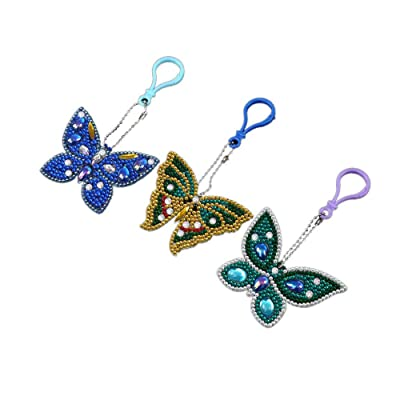 MeiLiio 3 Pack 5D DIY Diamond Keychains, Painting Paint Mosaic Making Full Drill Special Shape Diamond Painting Pendant Decorative for Art Craft Key Ring Phone Charm Bag Decor (Butterfly): Home & Kitchen