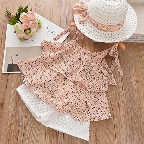 Casual Print Kids Clothing Sets Sleeveless Chiffon T-Shirt+Shorts 2PCS Girls Suit Pink AZ1614 -